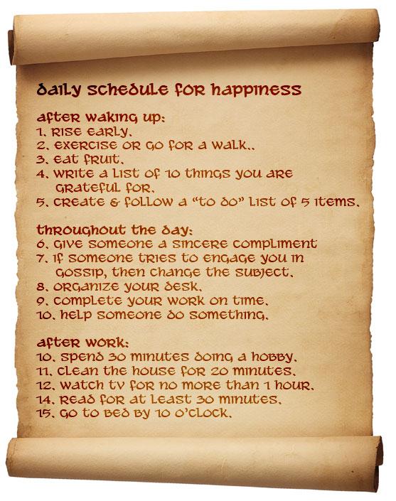 Happiness Schedule