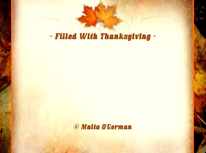 Filled with Thanksgiving