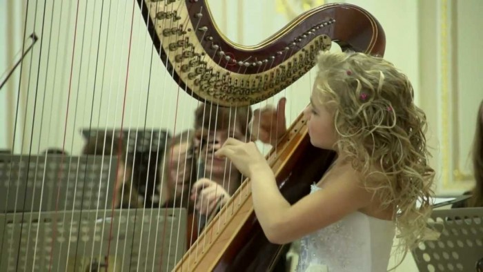 Angelic 9-Year Old Harpist