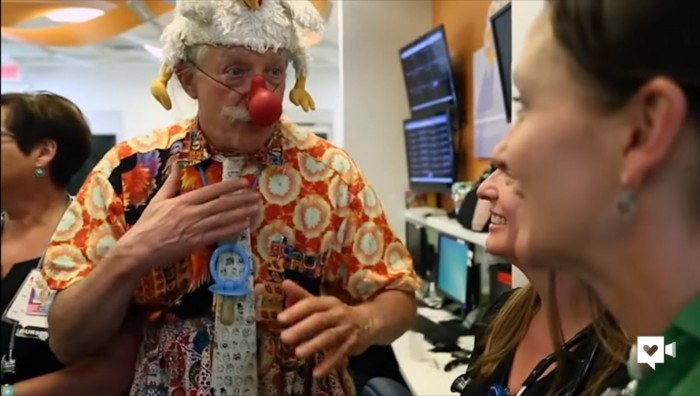 Patch Adams and Clowns Spreading Laughter at Hospital