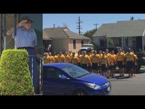 98-Year-Old World War II Vet Tears up When Navy Sailors Surprise Him with Song