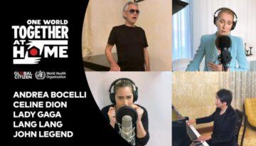 """Celine Dion, Andrea Bocelli, Lady Gaga, Lang Lang, John Legend perform """"The Prayer"""""""
